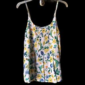 Old Navy Floral Tank Top w/ Birds with pleats Sz M